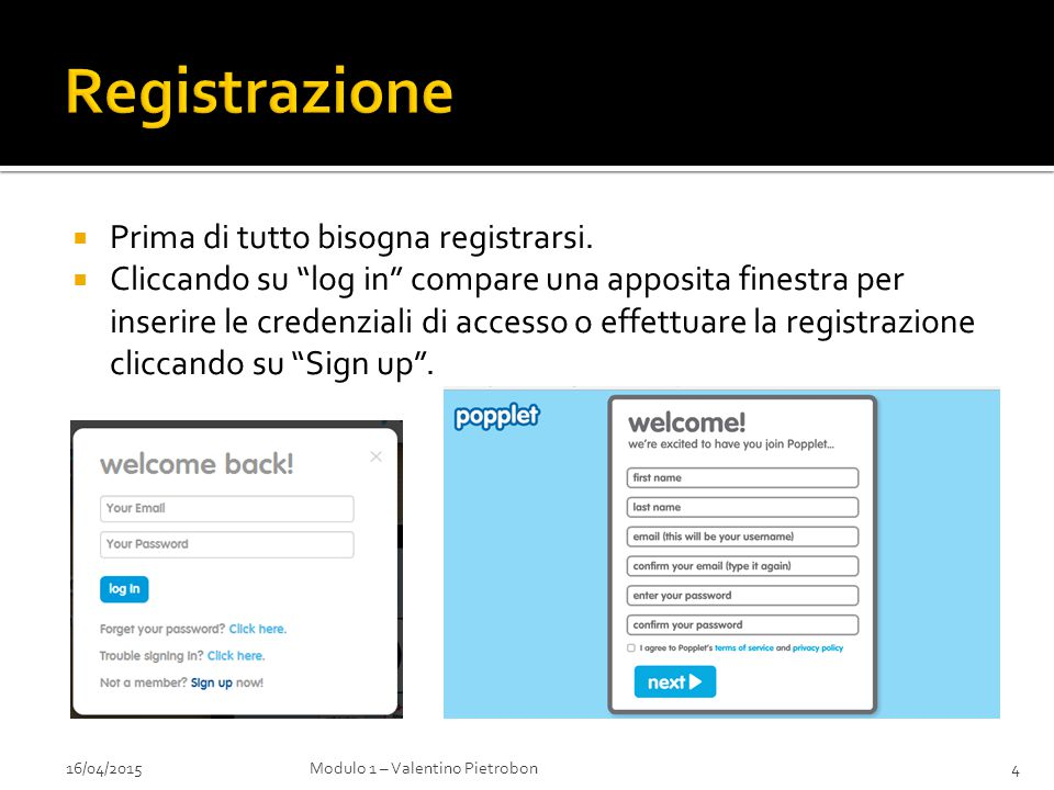 """ Prima di tutto bisogna registrarsi.  Cliccando su """"log in"""" compare una apposita finestra per inserire le credenziali di accesso o effettuare la reg"""