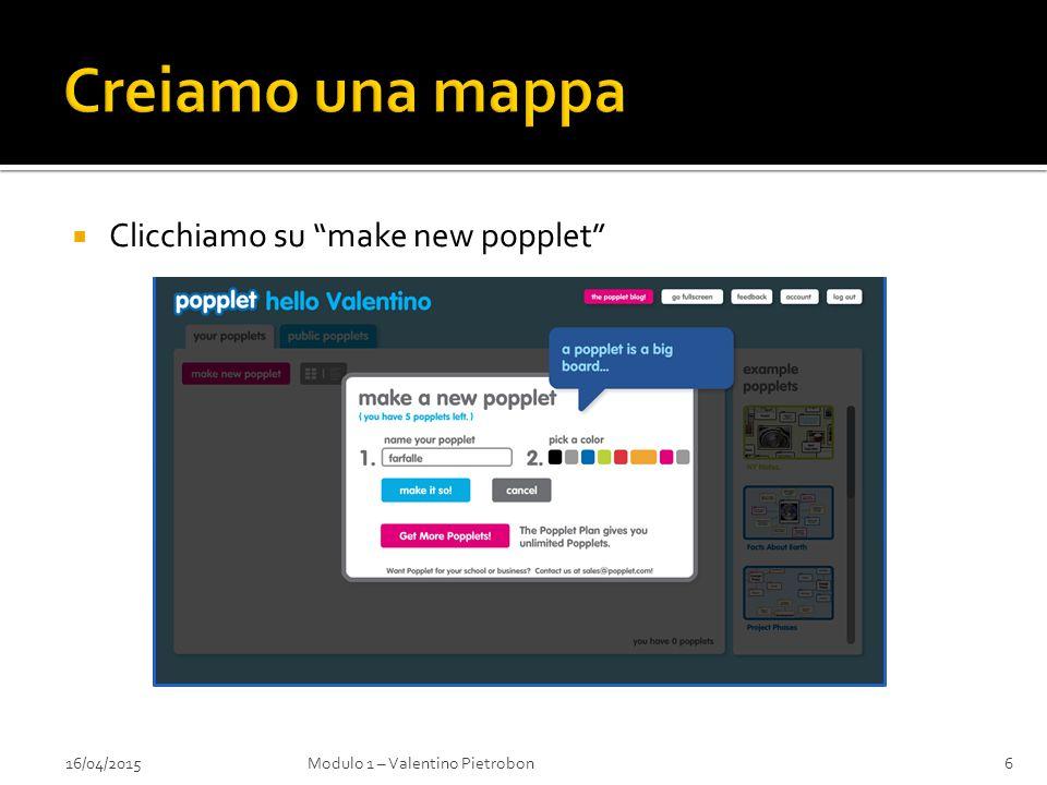 16/04/2015Modulo 1 – Valentino Pietrobon6  Clicchiamo su make new popplet