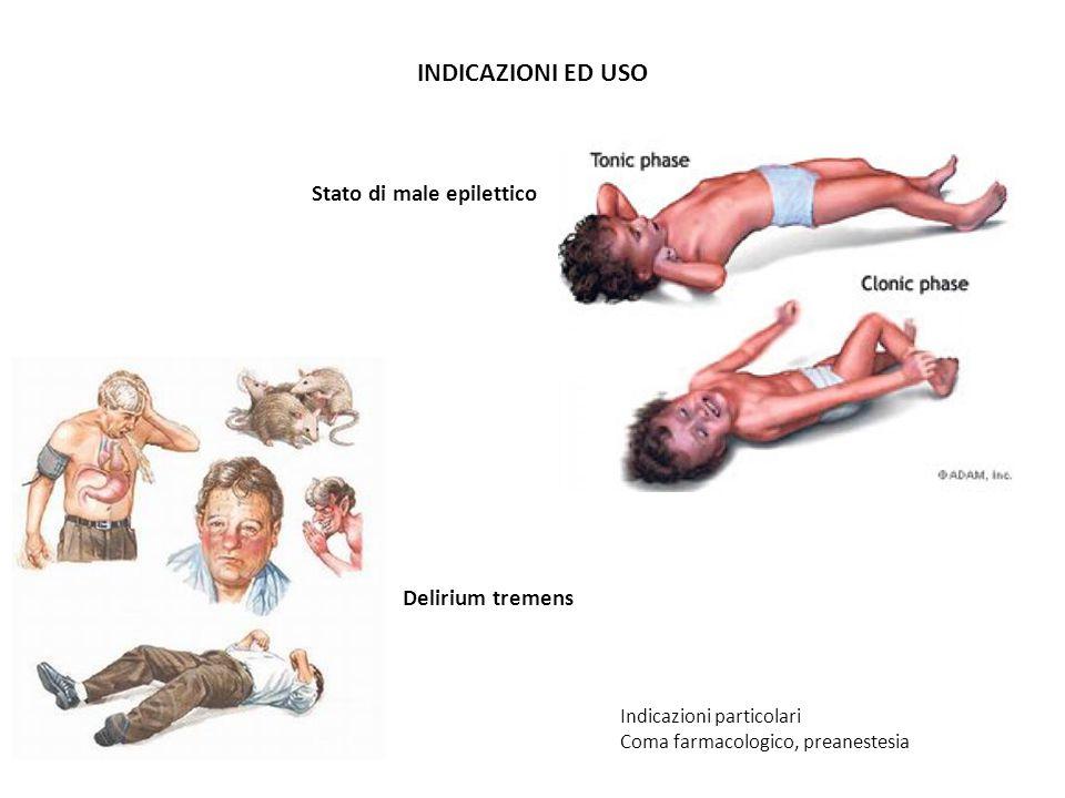 INDICAZIONI ED USO Indicazioni particolari Coma farmacologico, preanestesia Stato di male epilettico Delirium tremens