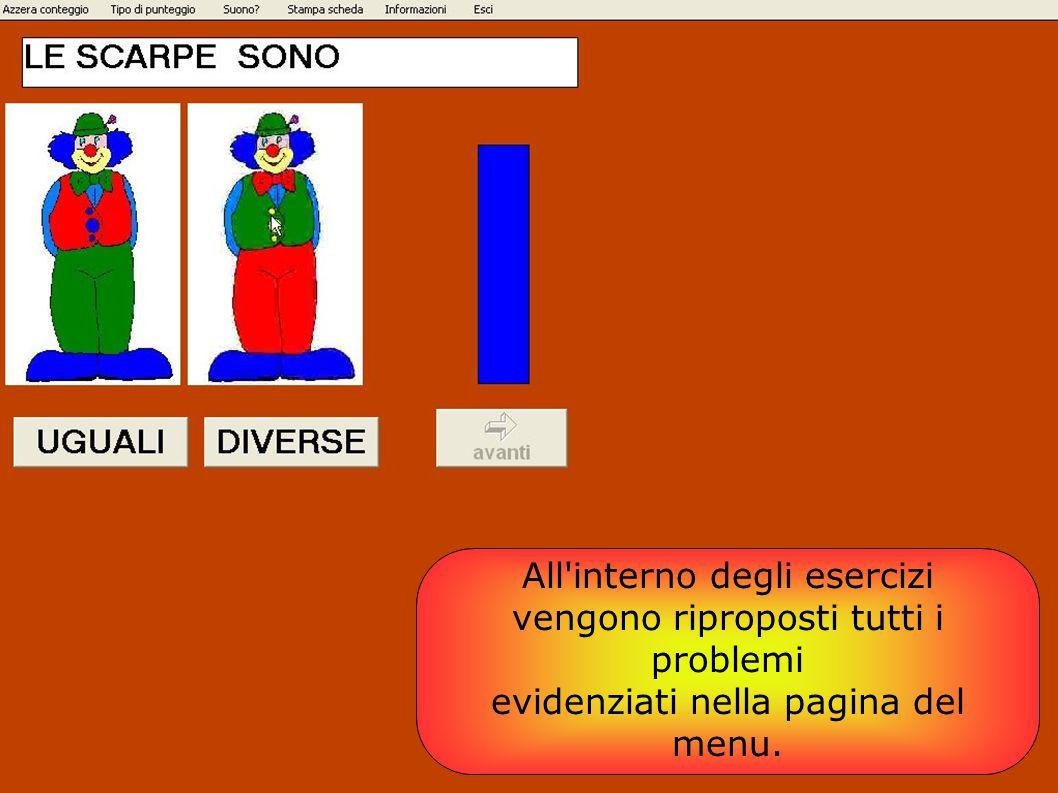 All'interno degli esercizi vengono riproposti tutti i problemi evidenziati nella pagina del menu.