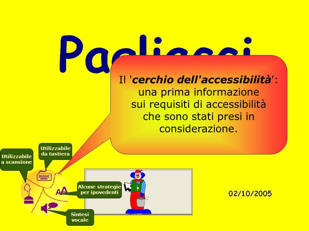 Il 'cerchio dell'accessibilità': una prima informazione sui requisiti di accessibilità che sono stati presi in considerazione. Utilizzabile da tastier