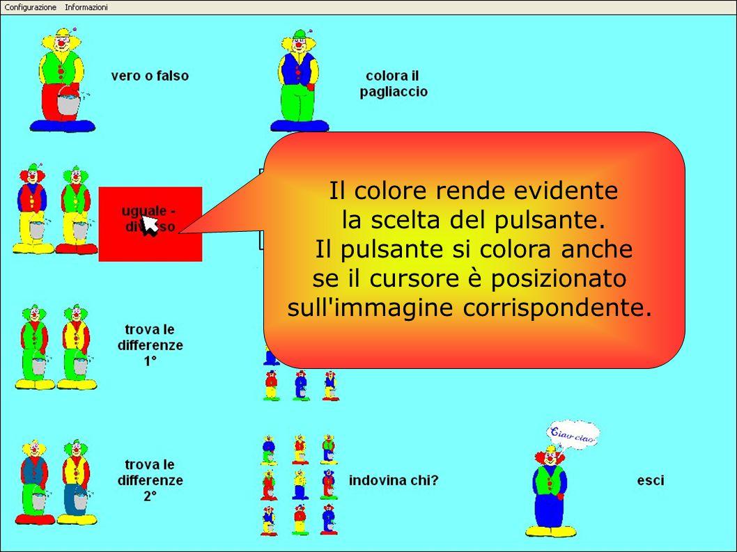 Il colore rende evidente la scelta del pulsante. Il pulsante si colora anche se il cursore è posizionato sull'immagine corrispondente.