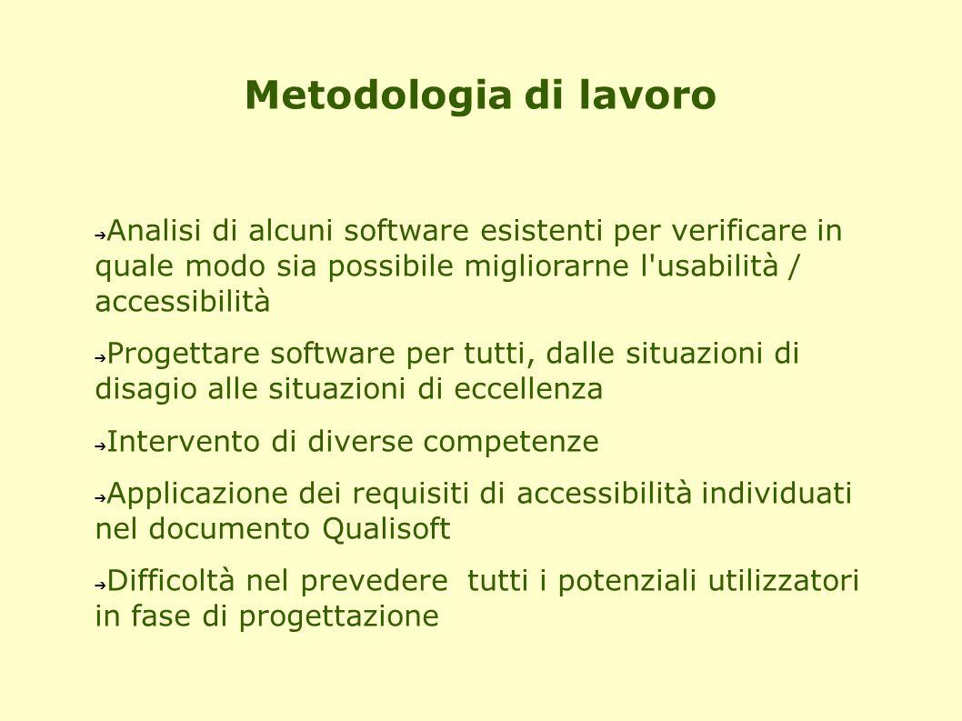 Metodologia di lavoro ➔ Analisi di alcuni software esistenti per verificare in quale modo sia possibile migliorarne l'usabilità / accessibilità ➔ Prog