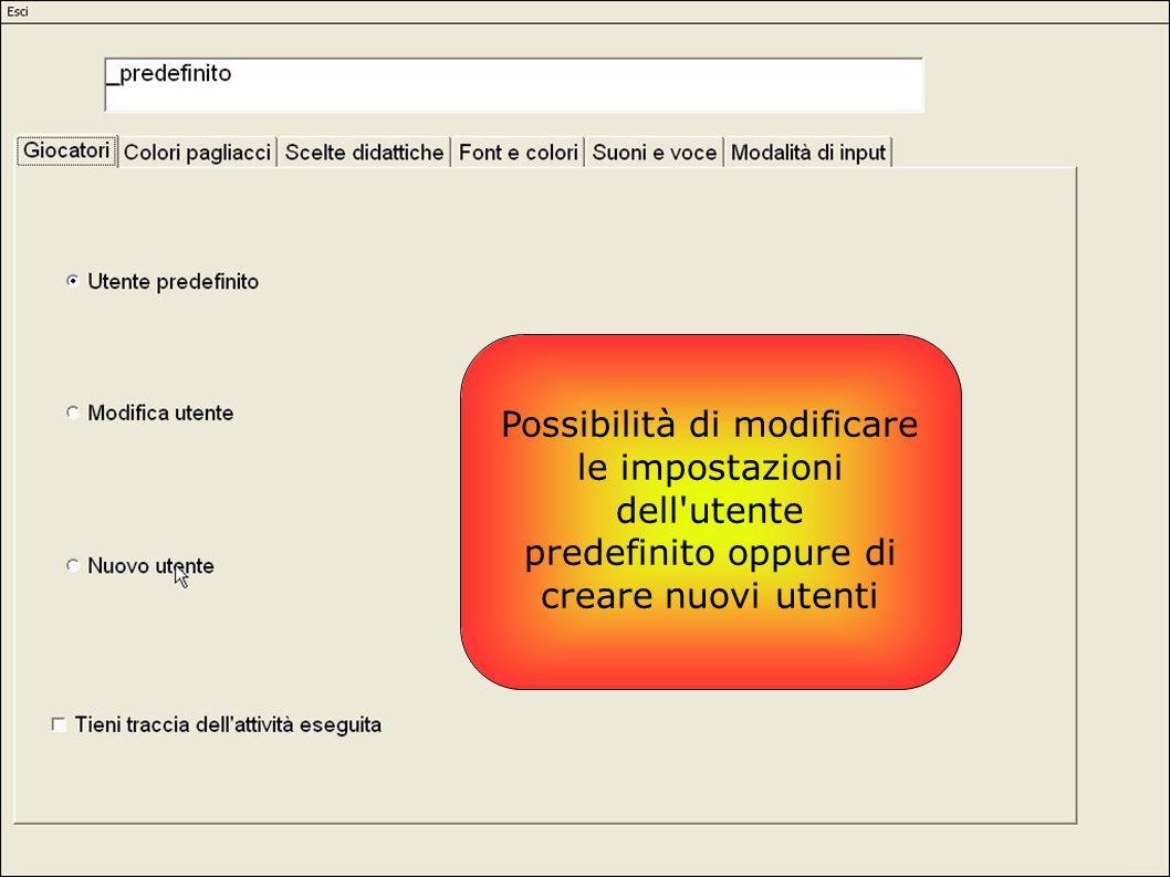 Possibilità di modificare le impostazioni dell'utente predefinito oppure di creare nuovi utenti
