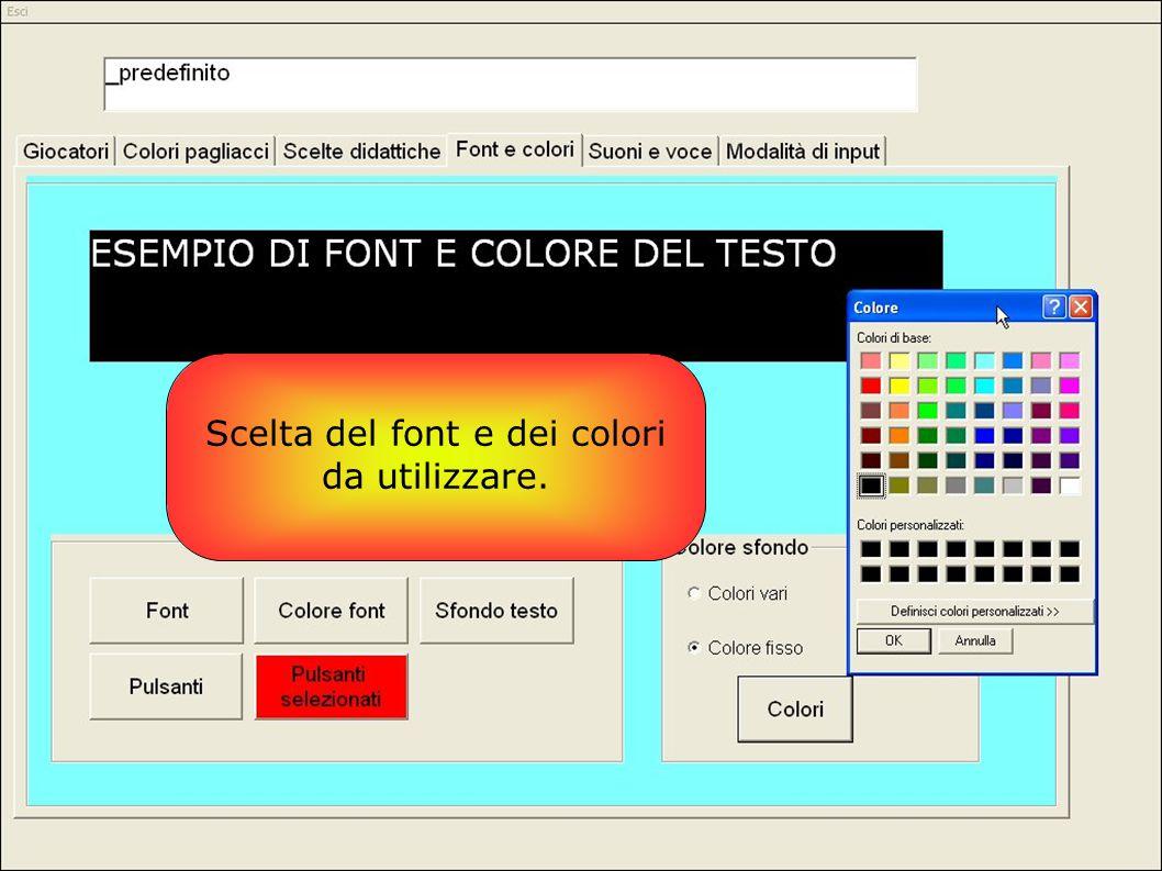 Scelta del font e dei colori da utilizzare.
