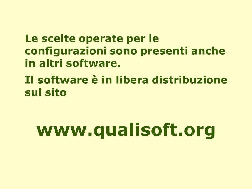 Le scelte operate per le configurazioni sono presenti anche in altri software. Il software è in libera distribuzione sul sito www.qualisoft.org