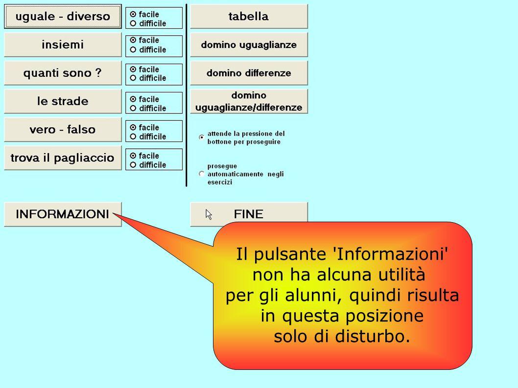 Il pulsante 'Informazioni' non ha alcuna utilità per gli alunni, quindi risulta in questa posizione solo di disturbo.