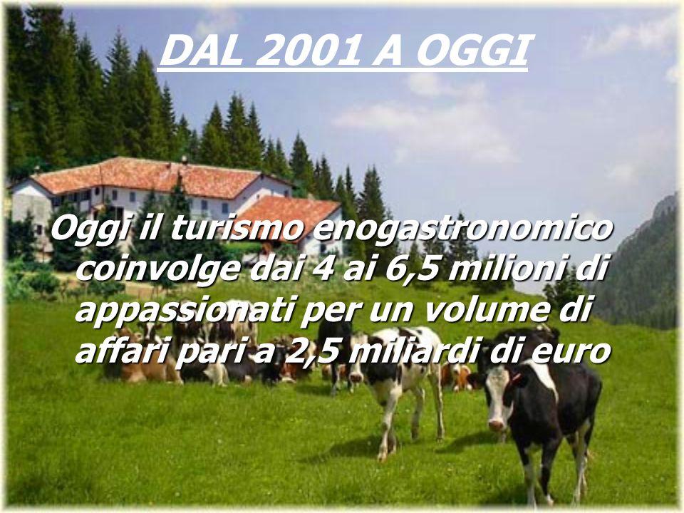 Oggi il turismo enogastronomico coinvolge dai 4 ai 6,5 milioni di appassionati per un volume di affari pari a 2,5 miliardi di euro