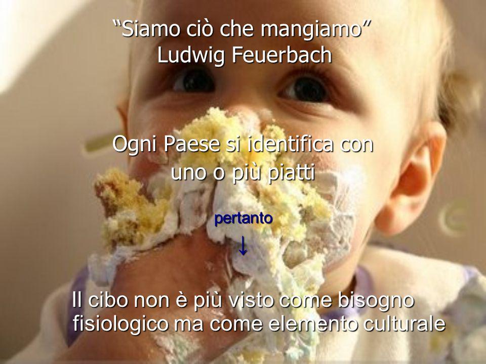 Siamo ciò che mangiamo Ludwig Feuerbach Ogni Paese si identifica con uno o più piatti pertanto↓ Il cibo non è più visto come bisogno fisiologico ma come elemento culturale
