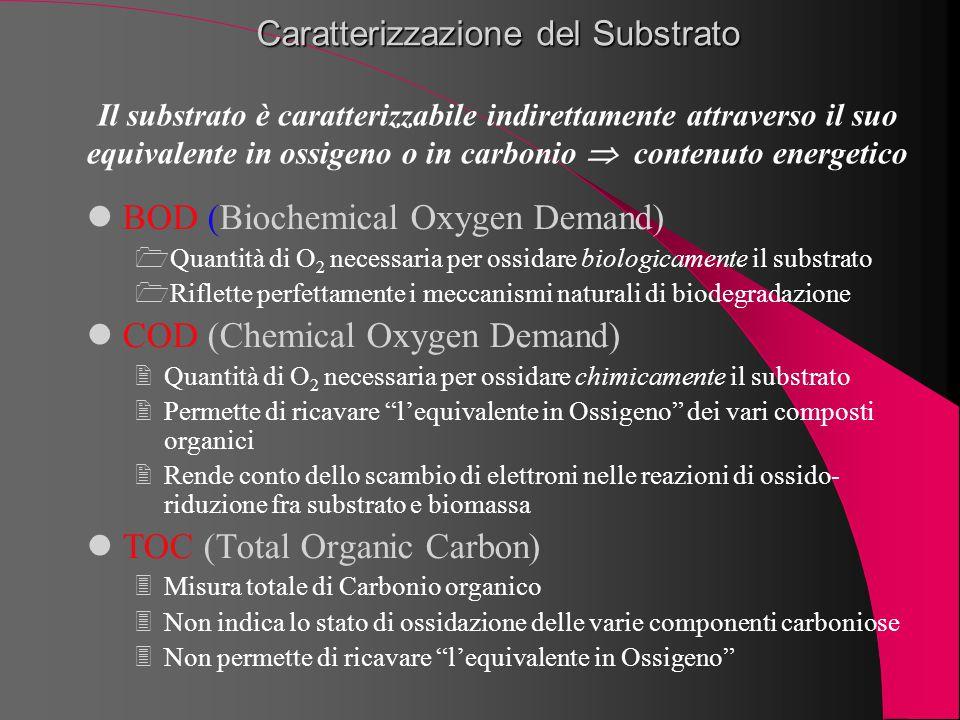 Caratterizzazione del Substrato BOD (Biochemical Oxygen Demand) Quantità di O 2 necessaria per ossidare biologicamente il substrato Riflette perfett