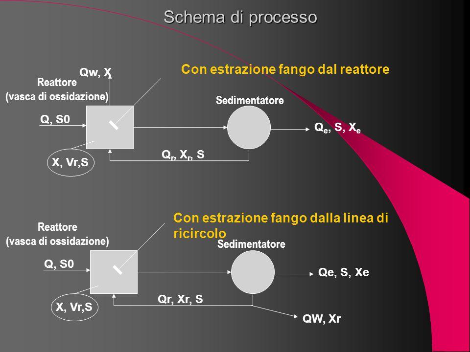 Schema di processo Q, S0 Qw, X X, Vr,S Q r, X r, S Q e, S, X e Con estrazione fango dal reattore Q, S0 X, Vr,S Qr, Xr, S Qe, S, Xe QW, Xr Con estrazio