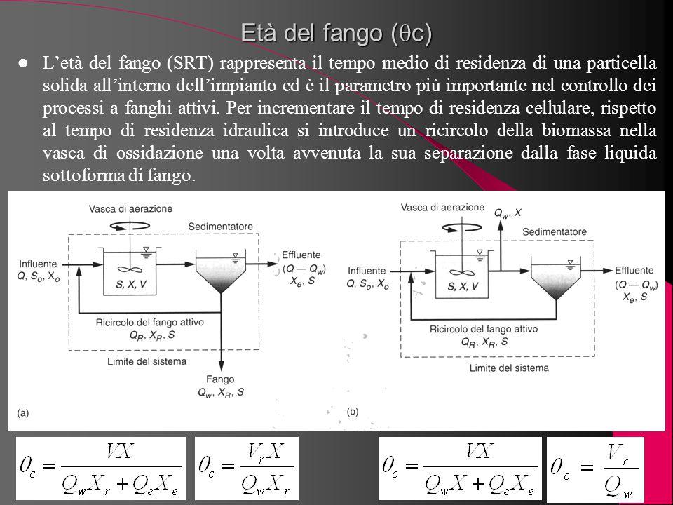 Età del fango (  c) L'età del fango (SRT) rappresenta il tempo medio di residenza di una particella solida all'interno dell'impianto ed è il parametr