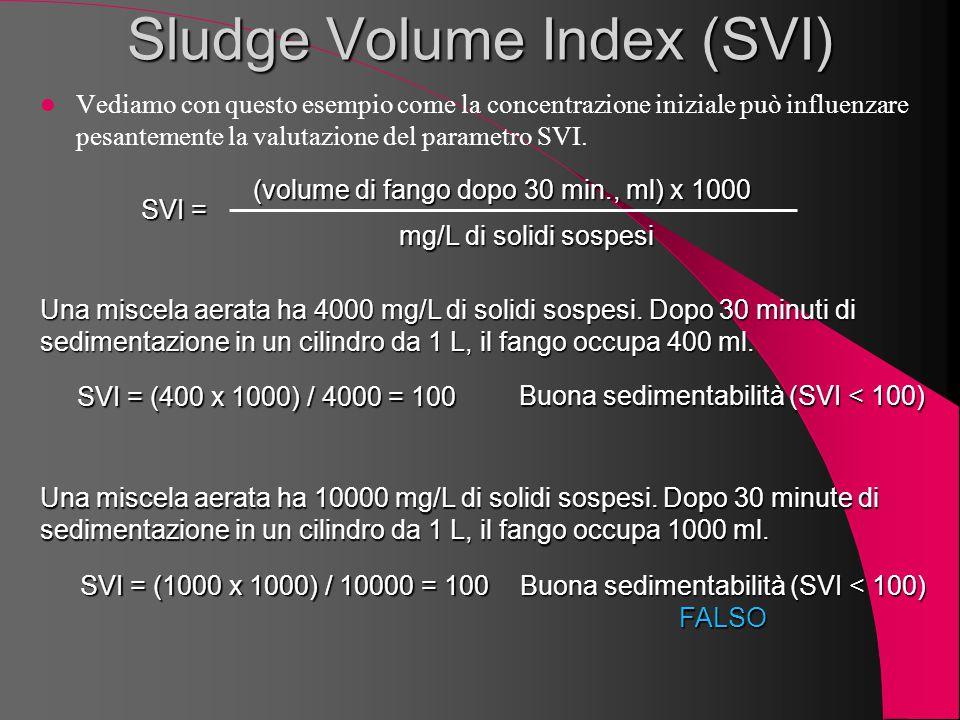 Sludge Volume Index (SVI) Vediamo con questo esempio come la concentrazione iniziale può influenzare pesantemente la valutazione del parametro SVI. SV