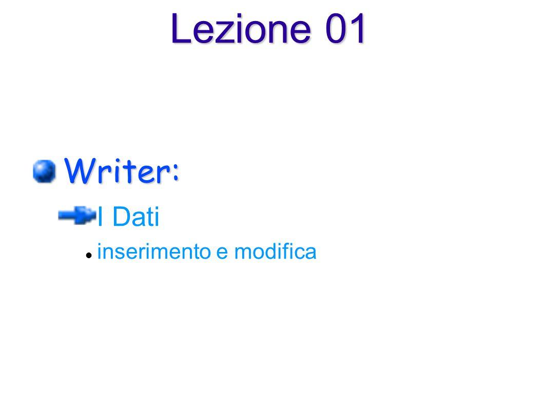 Writer: I Dati inserimento e modifica Lezione 01