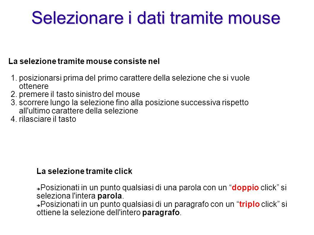 Selezionare i dati tramite mouse 1.posizionarsi prima del primo carattere della selezione che si vuole ottenere 2.premere il tasto sinistro del mouse