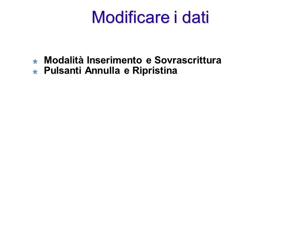Modificare i dati Modalità Inserimento e Sovrascrittura Pulsanti Annulla e Ripristina