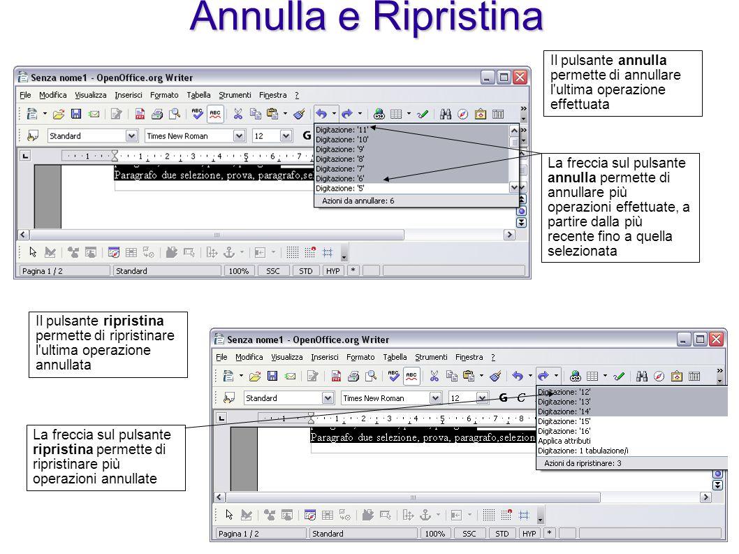 Annulla e Ripristina Il pulsante annulla permette di annullare l'ultima operazione effettuata La freccia sul pulsante annulla permette di annullare pi