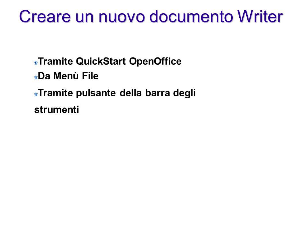 Creare un nuovo documento Writer Tramite QuickStart OpenOffice Da Menù File Tramite pulsante della barra degli strumenti