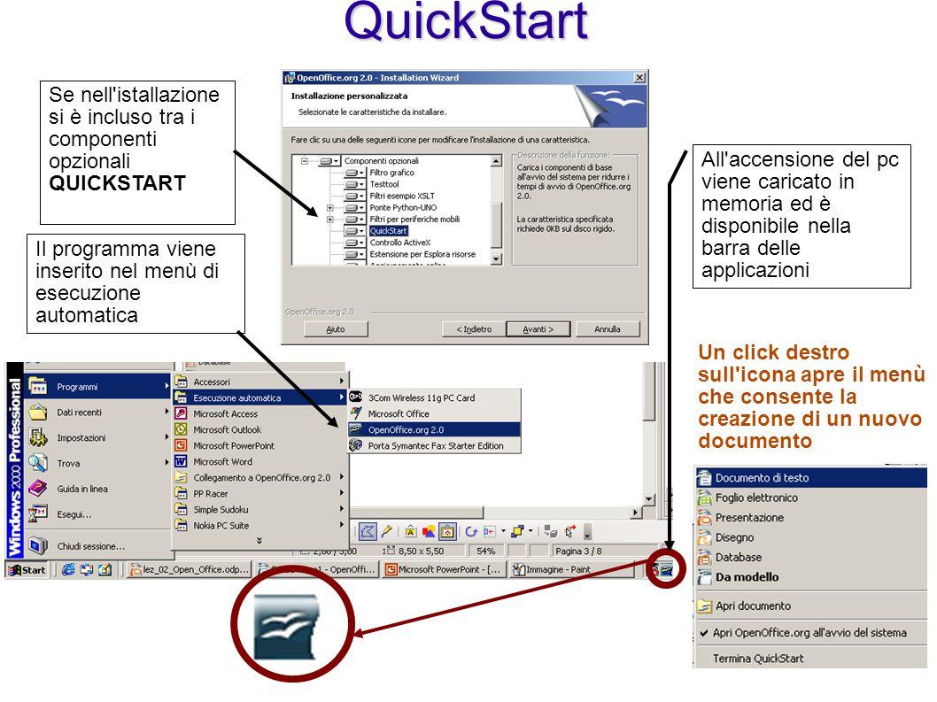 QuickStart Se nell'istallazione si è incluso tra i componenti opzionali QUICKSTART All'accensione del pc viene caricato in memoria ed è disponibile ne