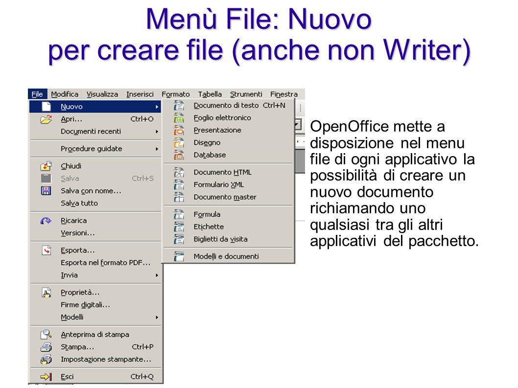 Menù File: Nuovo per creare file (anche non Writer) OpenOffice mette a disposizione nel menu file di ogni applicativo la possibilità di creare un nuov