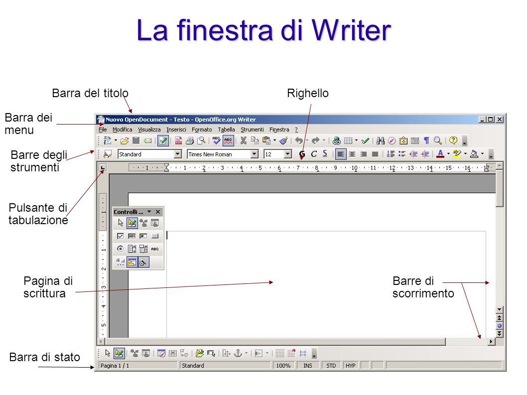 La finestra di Writer Barra del titolo Barra dei menu Barre degli strumenti Pulsante di tabulazione Righello Pagina di scrittura Barra di stato Barre