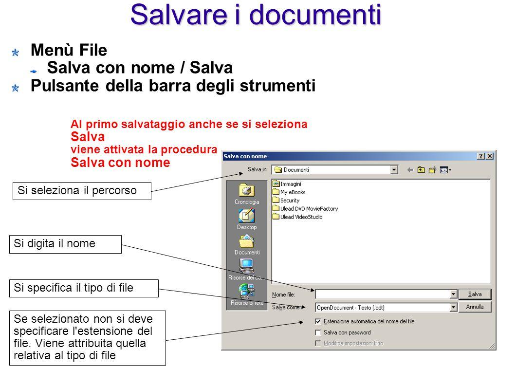 Salvare i documenti Menù File Salva con nome / Salva Pulsante della barra degli strumenti Si seleziona il percorso Si digita il nome Si specifica il t