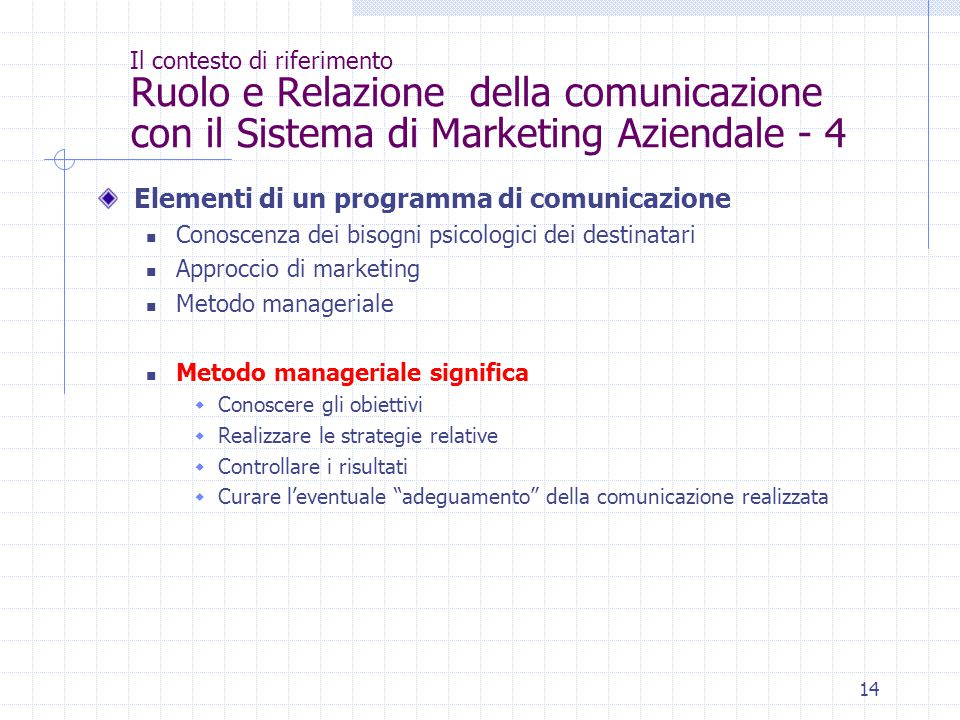 14 Il contesto di riferimento Ruolo e Relazione della comunicazione con il Sistema di Marketing Aziendale - 4 Elementi di un programma di comunicazion