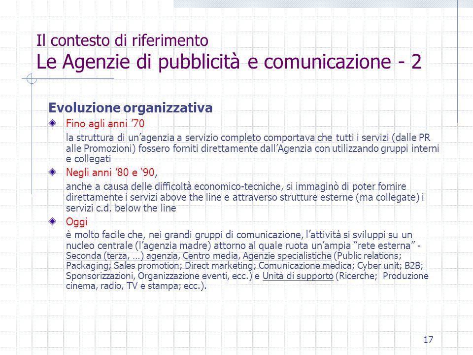 17 Il contesto di riferimento Le Agenzie di pubblicità e comunicazione - 2 Evoluzione organizzativa Fino agli anni '70 la struttura di un'agenzia a se