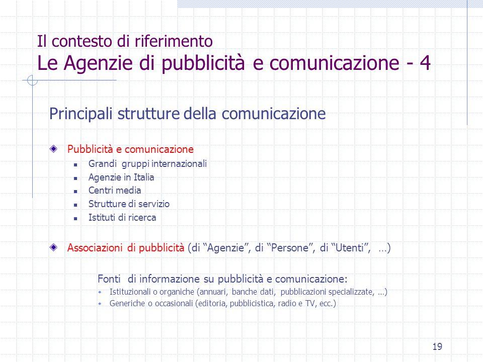 19 Il contesto di riferimento Le Agenzie di pubblicità e comunicazione - 4 Principali strutture della comunicazione Pubblicità e comunicazione Grandi