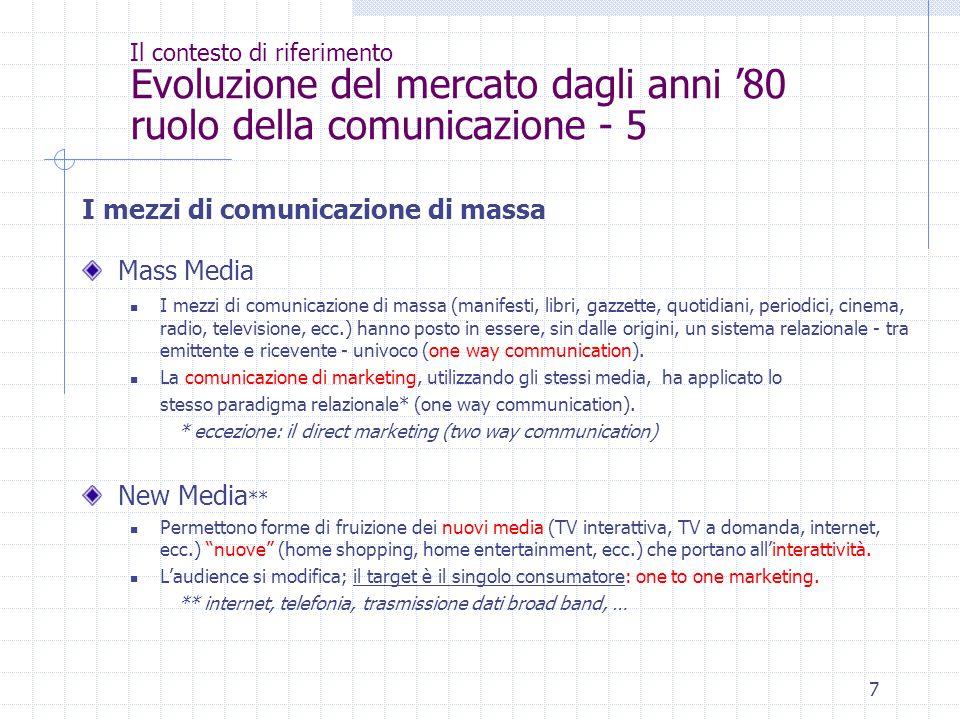 7 Il contesto di riferimento Evoluzione del mercato dagli anni '80 ruolo della comunicazione - 5 I mezzi di comunicazione di massa Mass Media I mezzi