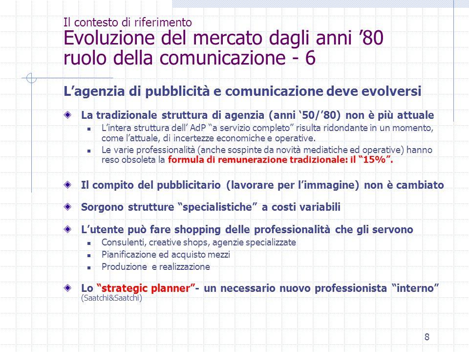 8 Il contesto di riferimento Evoluzione del mercato dagli anni '80 ruolo della comunicazione - 6 L'agenzia di pubblicità e comunicazione deve evolvers