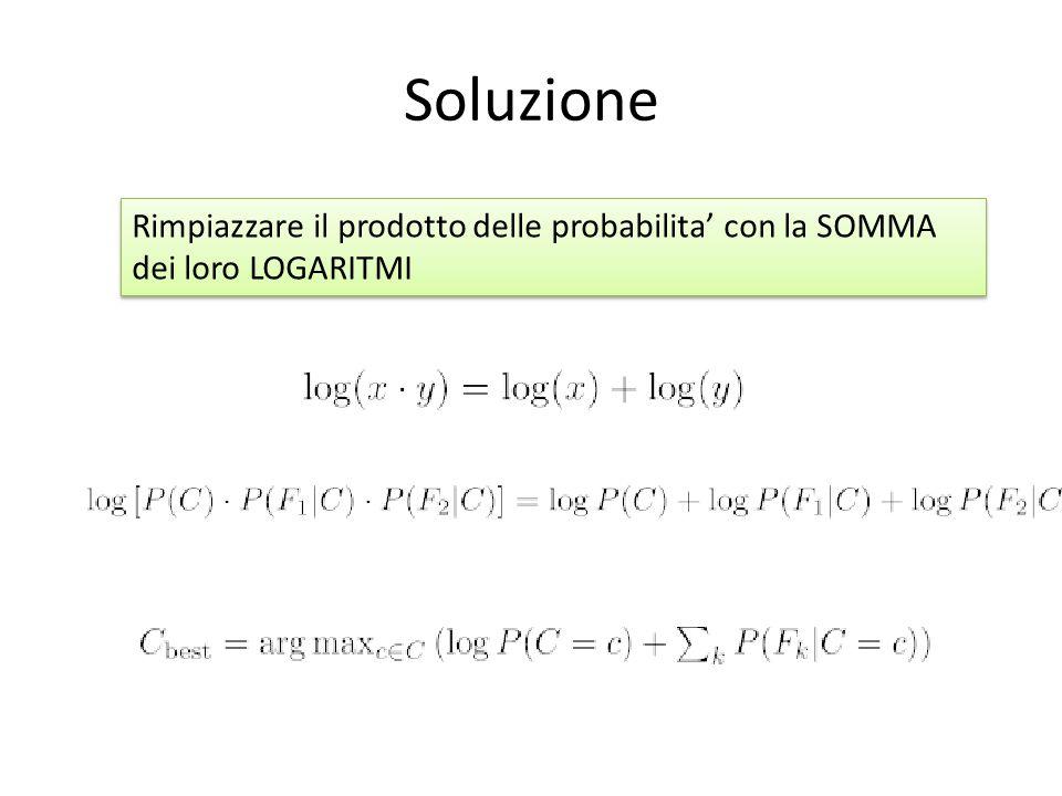 Soluzione Rimpiazzare il prodotto delle probabilita' con la SOMMA dei loro LOGARITMI