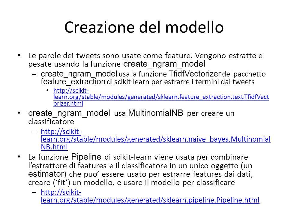 Creazione del modello Le parole dei tweets sono usate come feature. Vengono estratte e pesate usando la funzione create_ngram_model –create_ngram_mode