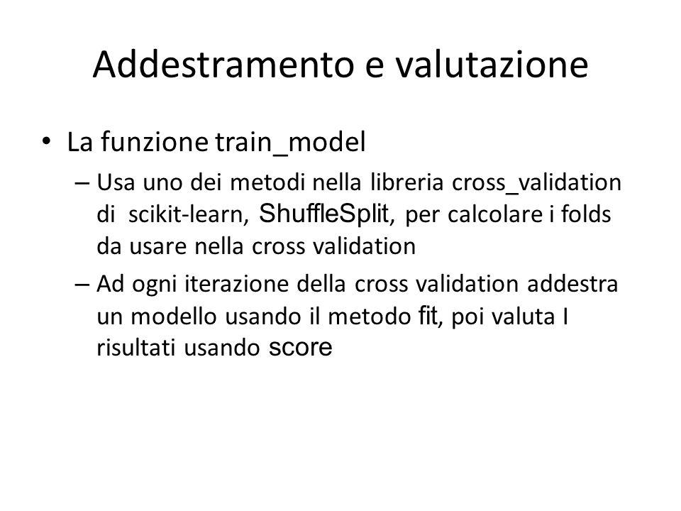 Addestramento e valutazione La funzione train_model – Usa uno dei metodi nella libreria cross_validation di scikit-learn, ShuffleSplit, per calcolare