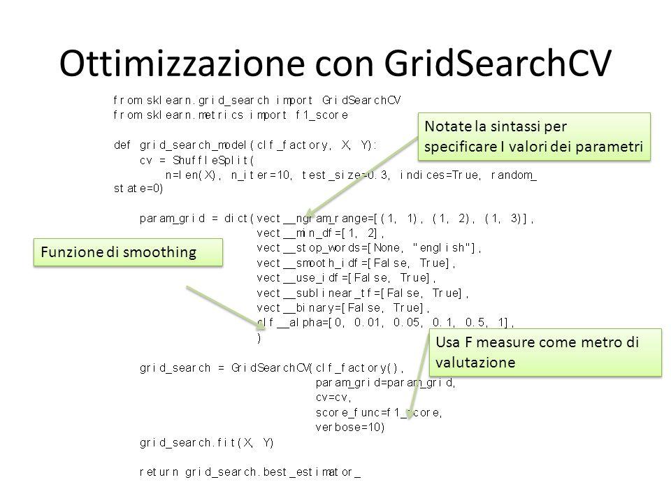Ottimizzazione con GridSearchCV Notate la sintassi per specificare I valori dei parametri Usa F measure come metro di valutazione Funzione di smoothin
