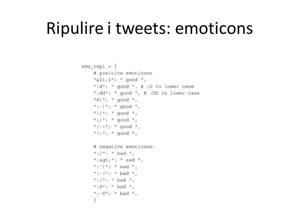 Ripulire i tweets: emoticons