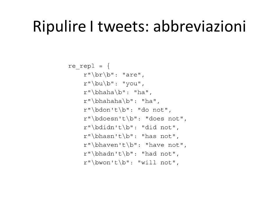 Ripulire I tweets: abbreviazioni