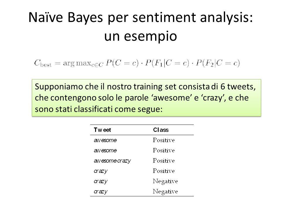 Naïve Bayes per sentiment analysis: un esempio Supponiamo che il nostro training set consista di 6 tweets, che contengono solo le parole 'awesome' e '