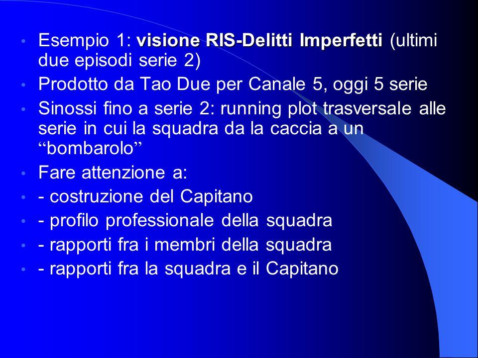 visione RIS-Delitti Imperfetti Esempio 1: visione RIS-Delitti Imperfetti (ultimi due episodi serie 2) Prodotto da Tao Due per Canale 5, oggi 5 serie S