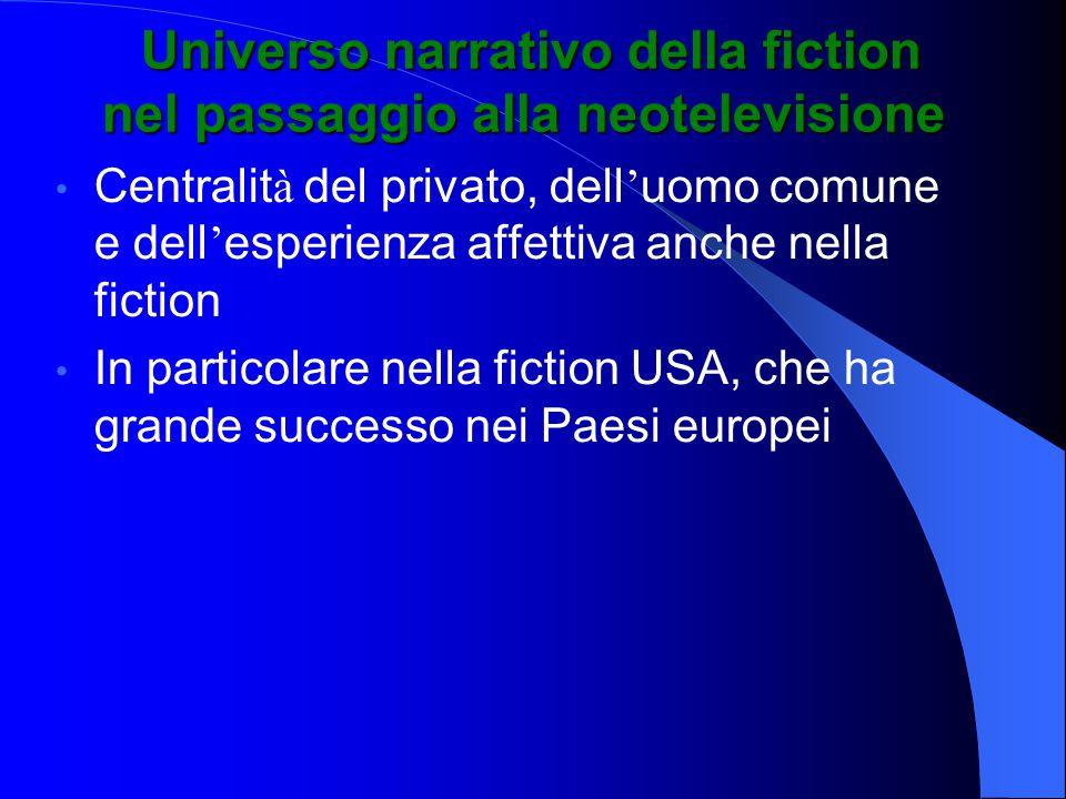 Universo narrativo della fiction nel passaggio alla neotelevisione Universo narrativo della fiction nel passaggio alla neotelevisione Centralit à del privato, dell ' uomo comune e dell ' esperienza affettiva anche nella fiction In particolare nella fiction USA, che ha grande successo nei Paesi europei