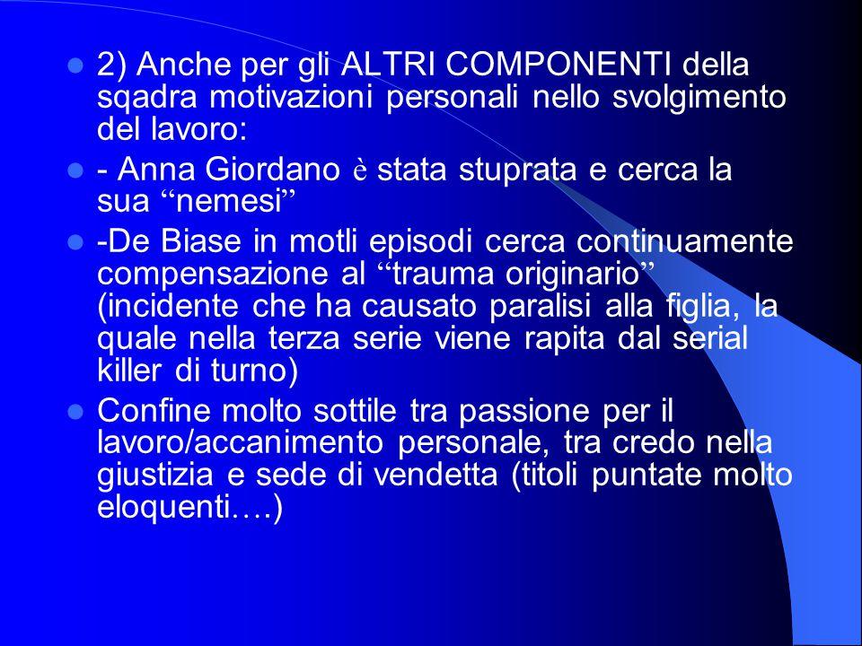 """2) Anche per gli ALTRI COMPONENTI della sqadra motivazioni personali nello svolgimento del lavoro: - Anna Giordano è stata stuprata e cerca la sua """" n"""