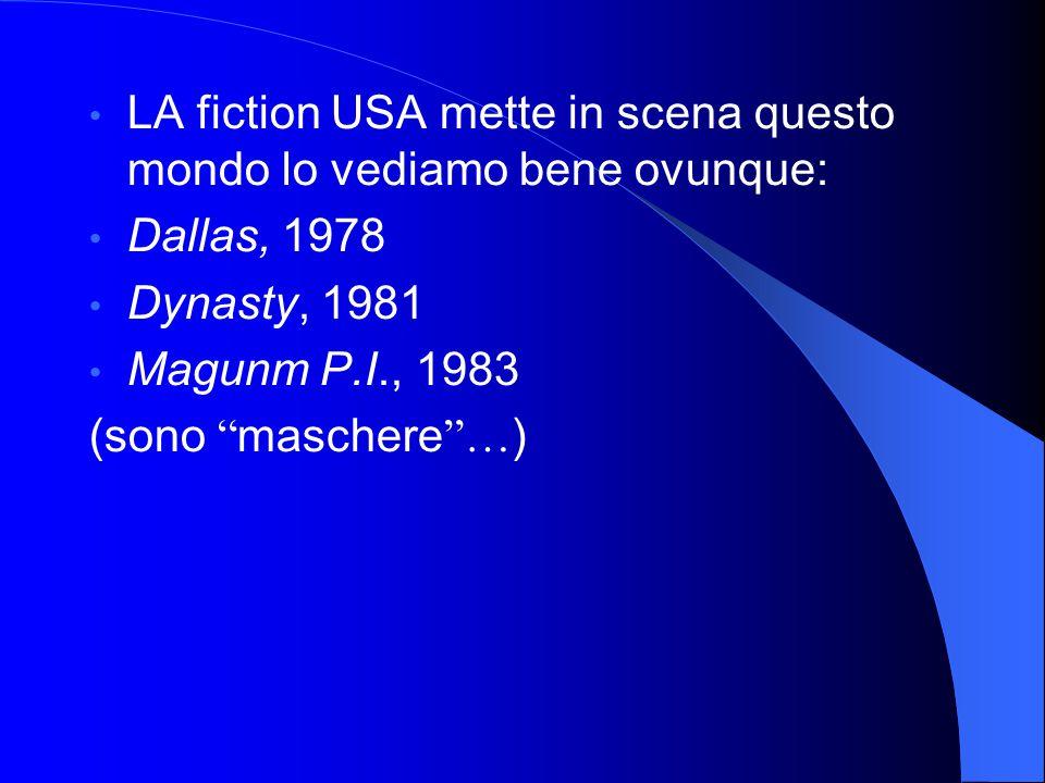 """LA fiction USA mette in scena questo mondo lo vediamo bene ovunque: Dallas, 1978 Dynasty, 1981 Magunm P.I., 1983 (sono """" maschere """"… )"""