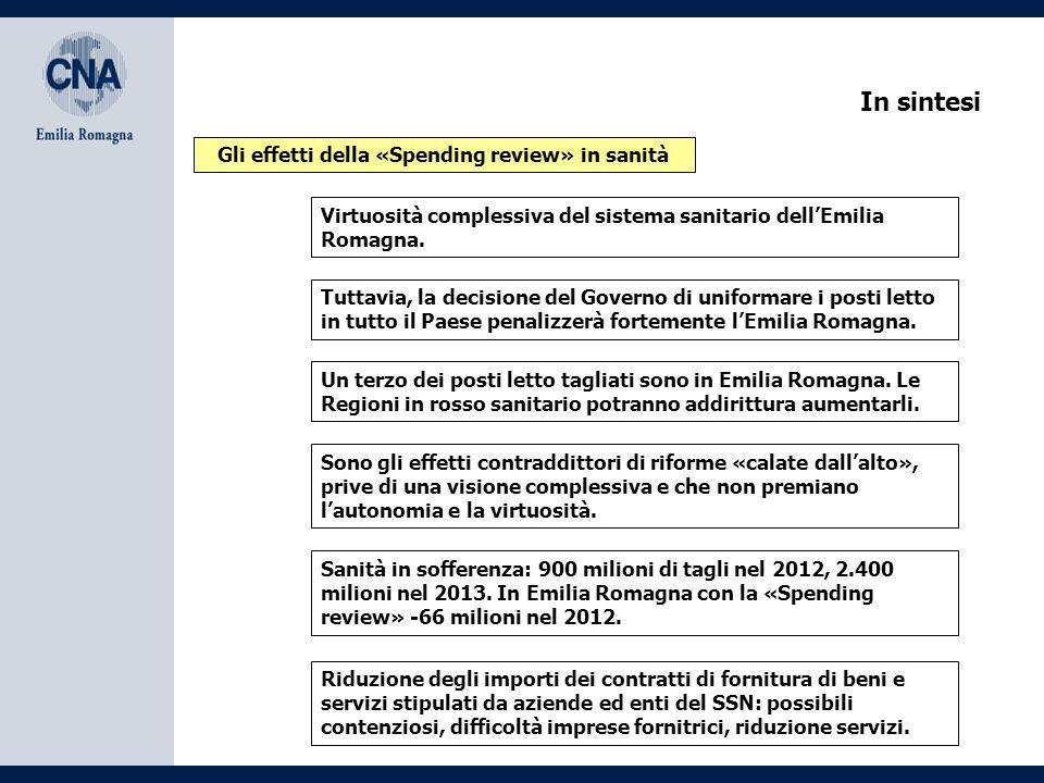 Gli effetti della Spending review nella sanità dell'Emilia Romagna Bologna, 19 dicembre 2012