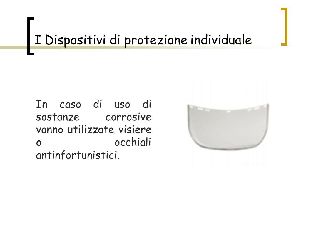 In caso di uso di sostanze corrosive vanno utilizzate visiere o occhiali antinfortunistici. I Dispositivi di protezione individuale