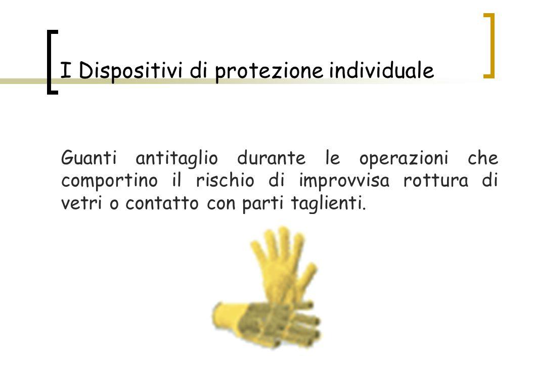 I Dispositivi di protezione individuale Guanti antitaglio durante le operazioni che comportino il rischio di improvvisa rottura di vetri o contatto co