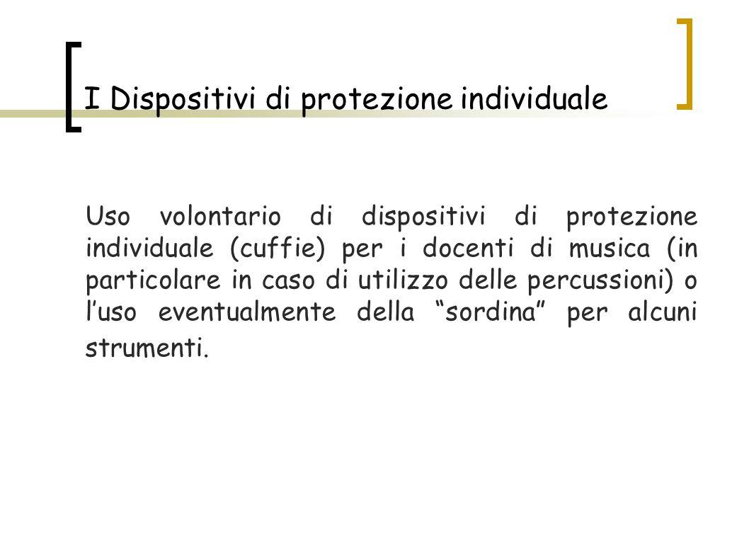 I Dispositivi di protezione individuale Uso volontario di dispositivi di protezione individuale (cuffie) per i docenti di musica (in particolare in ca