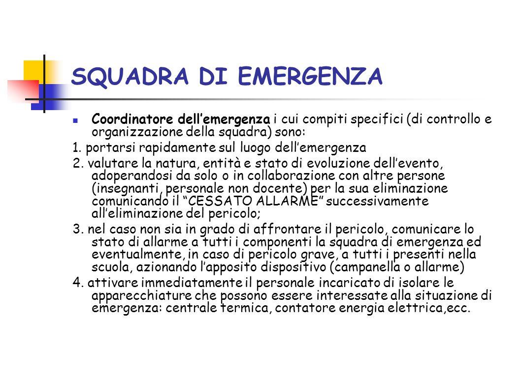 SQUADRA DI EMERGENZA Coordinatore dell'emergenza i cui compiti specifici (di controllo e organizzazione della squadra) sono: 1. portarsi rapidamente s