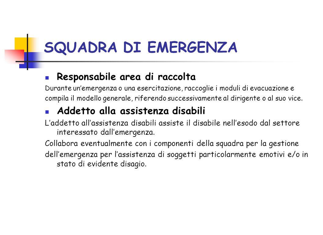 SQUADRA DI EMERGENZA Responsabile area di raccolta Durante un'emergenza o una esercitazione, raccoglie i moduli di evacuazione e compila il modello ge