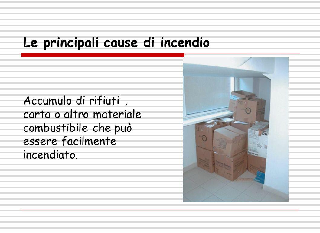 Le principali cause di incendio Accumulo di rifiuti, carta o altro materiale combustibile che può essere facilmente incendiato.