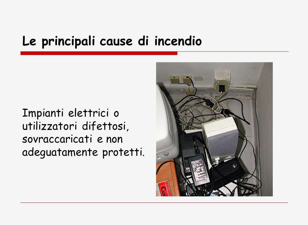Le principali cause di incendio Impianti elettrici o utilizzatori difettosi, sovraccaricati e non adeguatamente protetti.